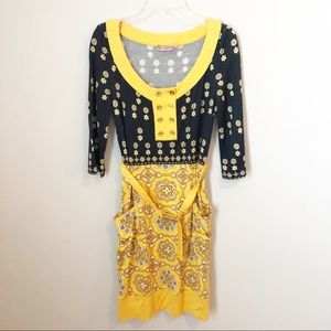 """Juicy Couture """"Jackie"""" Navy & Yellow Belted Dress"""